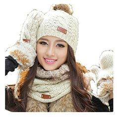 Lucky Beth Winter Warm Women Wool Hat/Scarf/Gloves Set Knitted Hat Scarf Mitten Lucky Beth Clothing