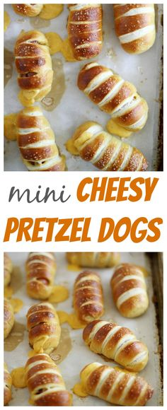This is the ultimate Fourth of July and barbecue recipe: Mini Cheesy Pretzel Dogs. Bite sized hotdogs wrapped in soft pretzels and stuffed with cheese. WOW!