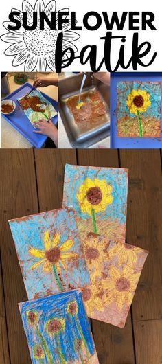 "Cool sunflower ""batik"" project (no wax) Arts And Crafts Projects, Projects For Kids, Crafts For Kids, Outdoor Activities For Kids, Spring Activities, Teen Art, Fabric Origami, Batik Art, Sunflower Art"