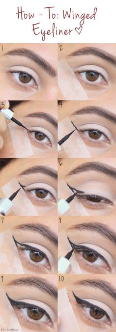 How To: Winged Eyeliner [Tape Method] You are in the right place about make up red Here we offer you the most beautiful pictures about the make up rosa you are looking for. When you examine the How To: Winged Eyeliner [Tape Method] Eyeliner Hacks, Eyeliner Tape, How To Apply Eyeliner, No Eyeliner Makeup, Eyeliner Ideas, Eyeliner Waterline, Easy Winged Eyeliner, Eyeliner Styles, Natural Eyeliner