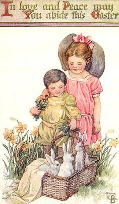 In Love and Peace may You Abide this Easter ~ Vintage postcard