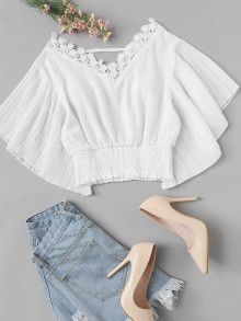 Casual Contrast Lace Plain Pleated Top Regular Fit V Neck Short Sleeve Butterfly Sleeve Pullovers White Crop Length Lace Panel Trim Solid Top Teen Fashion Outfits, Outfits For Teens, Trendy Fashion, Girl Fashion, Summer Outfits, Womens Fashion, Trendy Clothing, Fashion Styles, Fashion Ideas