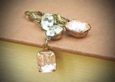 Vintage Rhinestone Earrings Blush Pink Peach ~ so romantic!