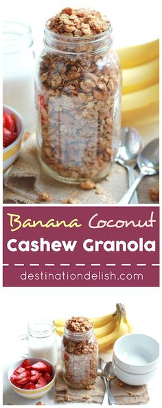 Banana Coconut Cashew Granola - a naturally sweet, crunchy and completely addictive granola that pairs the flavors of banana bread with toasted coconut and cashews Vegan Breakfast Recipes, Brunch Recipes, Snack Recipes, Healthy Recipes, Healthy Food, Banana Coconut, Toasted Coconut, Healthy Munchies, Gluten Free Granola