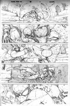 Marvel Spider-Man Pencils by Giuseppe Camuncoli comic artist reference Comic Book Layout, Comic Book Pages, Comic Book Artists, Comic Artist, Comic Books Art, Bd Comics, Manga Comics, Storyboard, Comics Spiderman