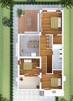House Design Plans Feet with 3 bedrooms - Sam House Plans 3d Home Design, Simple House Design, Dream Home Design, Home Design Plans, Plan Design, Modern House Design, My Dream Home, Dream Homes, Interior Design