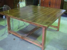 Square Beach Style Table in Oregon Timbers. Square Table. Square Table with Stretcher Base. Beach House Table. Small Space Dining Table. Small Space Dining Table Ideas. Dining Table ideas. Brisbane Dining Table.