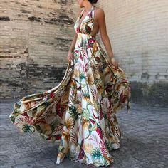 Summer Deep VNeck Floral Print Dress Women Bohemian Sleeveless Backless Empire Maxi Dress Beach Party Dresses Color WHITE Size S Bare Back Dress, Dress Backs, Robes Dos Nu Maxi, Moda Floral, Backless Maxi Dresses, Flowy Gown, Dresses Dresses, Beach Dresses, Vacation Dresses