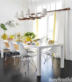 Mara Ross Berman - parsons table w/Eames chairs Retro Beach House, Chic Beach House, Beach House Decor, Home Decor, Beach Houses, House Of Turquoise, Yellow Turquoise, Orange Yellow, Yellow Accents