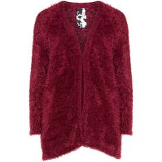 Frapp Bordeaux-Red Plus Size Fluffy cardigan ($64) ❤ liked on Polyvore featuring tops, cardigans, plus size, red knit cardigan, red top, red cardigan, plus size knit cardigan and v-neck cardigan