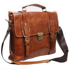 Awesome Style Vintage Genuine Leather Mens Briefcase Messenger Shoulder Bag New | eBay