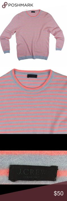 "JCREW Collection 100% Cashmere Stripe Sweater Absolutely excellent condition! The size tag was removed but it's a size XS. This 100% cashmere light blue and coral stripe Sweater from JCREW features bracelet length sleeves and a crew neckline. Measures: Bust: 34"", Total length: 23"", Sleeves: 21"" J. Crew Sweaters Crew & Scoop Necks"
