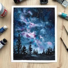 Here is the galaxy from my previous video🌌 . 🎨: Daniel Smith (Moonglow, Rose of Ultramarine) Winsor&Newton (Prussian Blue, Indigo, Cobalt Turquoise Light), Sonnet studio watercolors (Lamp Blac. Watercolor Galaxy, Galaxy Painting, Galaxy Art, Watercolor Paintings, Simple Watercolor, Pastel Watercolor, Watercolor Trees, Flower Paintings, Tattoo Watercolor