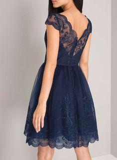 *Chi Chi London Navy V-Neck Lace Midi Dress