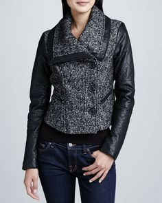 BCBGMAXAZRIA Tweed Jacket with Leather Sleeves on shopstyle.com