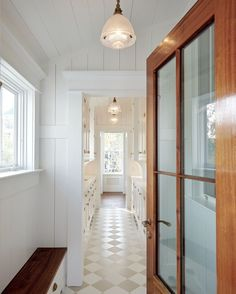 MUDROOM to BUTLER'S PANTRY | @robynhoganhomedesign | Robyn Hogan Home Design | SCULLERY| WETBAR | Shiplap Ceiling and Walls, Board and Batten, Shaker Cabinetry, Unlacquered Brass, White Marble, Mahogany Door