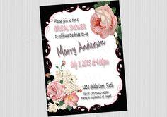 Bridal Shower Invitation, Roses invitation, Wedding Shower Invitations, bridal roses, wedding Invitation, Printable Bridal Shower Invitation by BvStudio on Etsy
