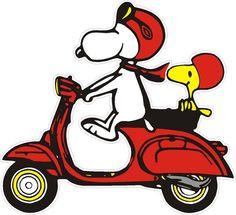 Aufkleber Snoopy auf Vespa rot