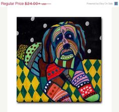 50% Off Tibetan Terrier art Tile Ceramic by HeatherGallerArt