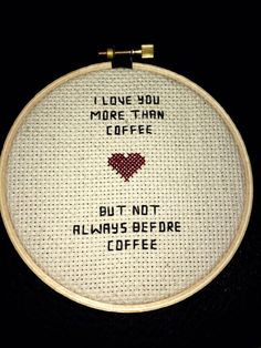 I love you more than coffee snarky cross stitch #crossstitch #etsy #embroidery