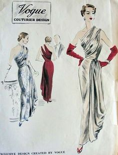 New fashion vogue sketches dress patterns ideas Vintage Outfits, Vintage Gowns, Vintage Clothing, Retro Fashion, Vintage Fashion, Club Fashion, Vintage Couture, Fashion Fashion, Trendy Fashion