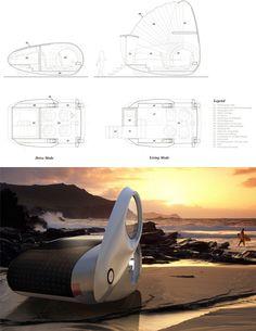 convertible electric portable caravaanDrive & Live Off Grid: Convertible Mobile Caravan Concept