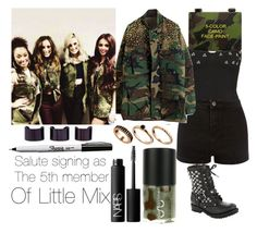 The 5th member of Little Mix: Salute signing by fifipayhorstylikson on Polyvore featuring polyvore fashion style Motel Ash ASOS Maison Margiela Rothco NARS Cosmetics Uslu Airlines clothing