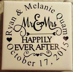 Vinyl tile coasters wedding gift