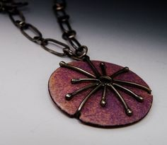 Torch Fired Enamel and Sterling Silver Necklace - Oxidized, Hand ...