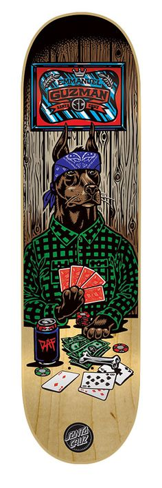 Santa Cruz Skateboards: Decks: x Guzman Poker Dog Deck Skateboard Deck Art, Skateboard Design, Skate Bord, Skate And Destroy, Cool Skateboards, Skate Decks, Shape Art, Artist Portfolio, Cool Stickers