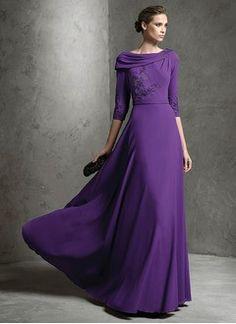 A-Line/Princess Cowl Neck Floor-Length Chiffon Evening Dress With Appliques Lace