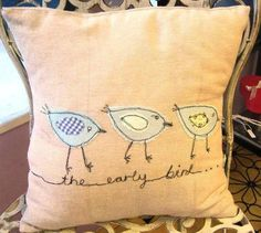 Embroidered applique cushions - love, home is where the heart is, valentine on the other side ... poor worm