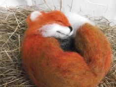Needle Felted Animal Handmade OOAK Sleeping Red by MrsPlopsShoppe