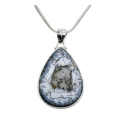 Large Dendritic Opal Pendant Necklace 925 Sterling Silver