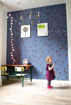 Wallpaper and vintage children's desk