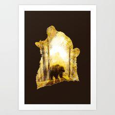 Bear's Mountain, by Diogo Veríssimo #dverissimo #illustration #silhouette #digital #drawing #scenic #fantasy #nature #scenic #sun #rays #fire #light  #magic #woods #trees #animal #animalia #bear #fall #autumn #mountain #gold #roar #grizzlybear #brownbear