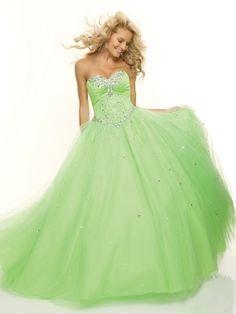 BallGown Sweetheart Tulle Satin Floor-length Sage Rhinestone Prom Dress