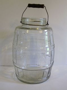 Antique Glass Primitive Country Store Pickle Barrel Jar Wood Handle 2 1/2 Gallon