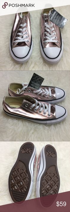 Metallic Pink Rose Quartz Converse Sneakers Metallic pink rose quartz Converse sneakers. Unworn, brand new. Rare! Selling because I bought the wrong size. Converse fit best with one size down. Converse Shoes Sneakers