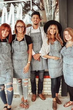 The Boston Distressed Denim Bib Apron's hand-distressed faded details and handy apron pockets gain character with age. Designed for hair stylist, beauty, retail and hospitality professionals with room for scissors, notepads and a pen. Beauty Therapist Uniform, Beauty Dish, Hairstylist Apron, Salon Aprons, Salon Uniform, Home Hair Salons, Beauty Salon Decor, Work Attire, Work Outfits