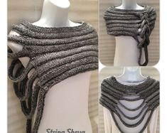 Multi-Way String Shrug Hand knitted in a beautiful chunky wool/acrylic mix yarn, Colour - grey mix Size - small/medium Machine washable. Made in the Scottish Borders. Specially created for the woman who loves individual Style Knitting String Shrug . Hand Knitting, Knitting Patterns, Crochet Patterns, Finger Knitting, Scarf Patterns, Knitting Tutorials, Poncho Au Crochet, Knit Crochet, Crochet Clothes