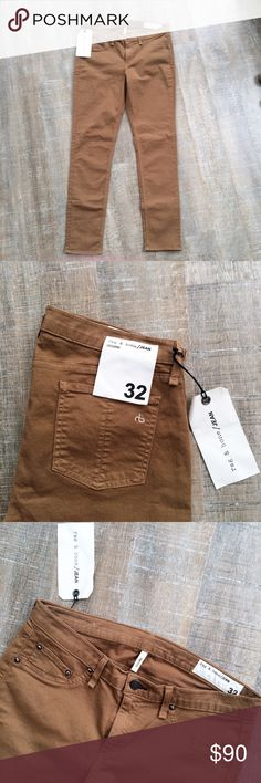 NWT! rag & bone legging fit jeans brown/dark tan NWT! A fall staple! Rag & Bone legging fit jeans in brown/dark tan. Size 32. 96% cotton 4% roica. Catalogue image shows this item in black, this listing is for the same jeans in BROWN. Offers welcome! rag & bone Jeans Skinny