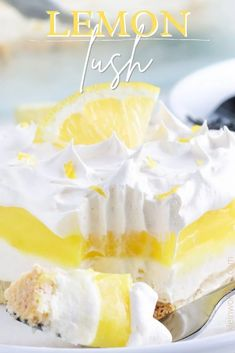 Lemon Lush Dessert has a buttery shortbread layer topped with sweetened cream cheese, creamy lemon pudding, and whipped cream. It's a lemon-lovers dream and absolutely delicious!