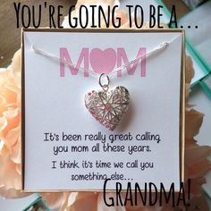 Surprise! You're going to be a grandma! Silver Locket Necklace with Message…