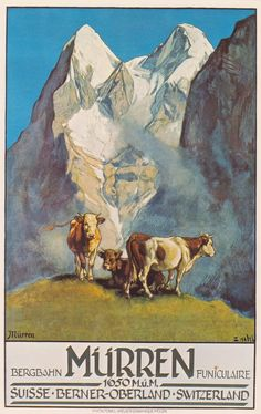 Ernst Hodel, Plakat fur Bergbahn Murren, 1925. Plakatsammlung des Kunstgewerbemuseums Zurich