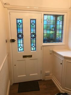Beautiful Victorian front door recently installed in north London Victorian Front Doors, Beautiful Front Doors, Beautiful London, North London, Closed Doors, Stained Glass, Mirror, Home Decor, Decoration Home