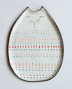 from Poland Cat plate  with so many dots and hearts...  by clayopera on Etsy, $39.00