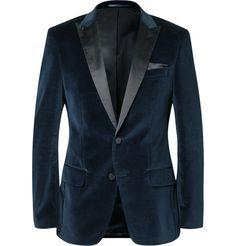 Hugo Boss Blue Hayford Slim-Fit Satin-Trimmed Velvet Tuxedo Jacket