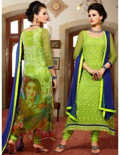 Buy Gorgeous Light Green Churidar Suit online. http://www.bharatplaza.com/womens-wear/readymade-suits/bollywood-salwars.html
