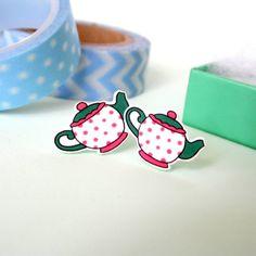 Polka Dot Teacup Stud Earrings